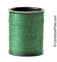 Green thread spool isolated on white background