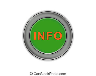 Green three-dimensional button with the word INFO, white background