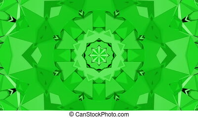 Green three-dimensional kaleidoscope background. abstract....