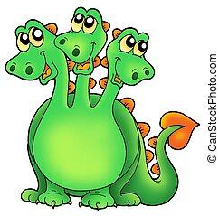 Green three headed dragon