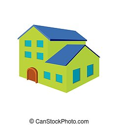 Green three-storey house cartoon icon