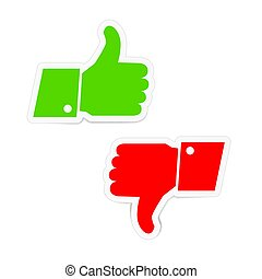 Green thumbs up and red thumbs down icons stickers on white