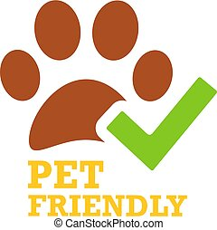 Green tick and pet friendly emblem - Green tick and pet ...