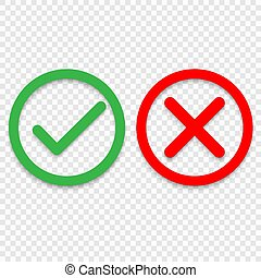 Green tick and red cross checkmarks line icons. Vector ...