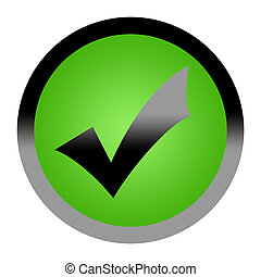 Green tick check mark button isolated on white background...
