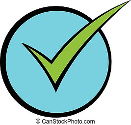 Green tick, check mark icon cartoon