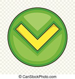 Green tick, check mark icon, cartoon style