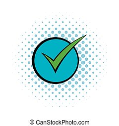 Green tick, check mark icon, comics style
