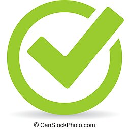 Green tick checkbox isolated on white background