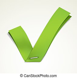 Green tick - Green ribbon stapled to a white sheet forming a...