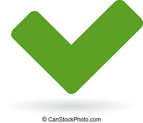 Green tick icon isolated on white background