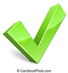 Green tick icon on white vector illustration.