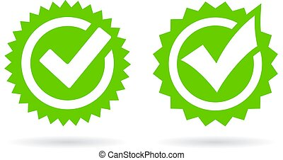 Green tick icons set, vector illustration on white ...