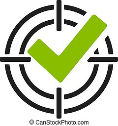 Green tick in shooting sight vector icon on white background