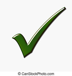 Green tick isolated over white