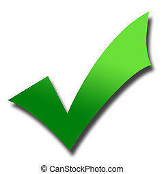 Green tick mark - Gradient green tick mark with drop shadow;...