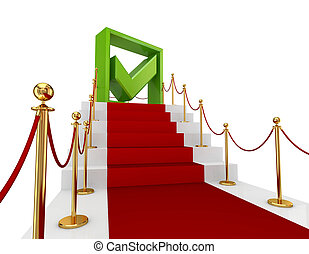 Green tick mark on a red staircase.