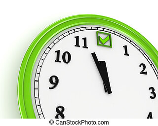 Green tick mark on a watch.