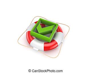 Green tick mark on lifebuoy.