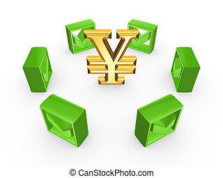 Green tick marks around symbol of yen.