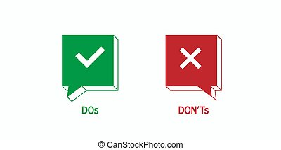 Green tick, red cross vector isolated illustration. Design ...