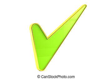 Green tick sign