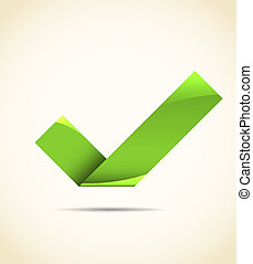 Green tick - Simple green paper tick. EPS10 vector image.