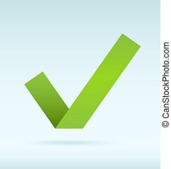 Green tick - Simple origami green tick. EPS10 Vector image.