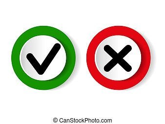 Green tick symbol and red cross sign in circle. Icons for evaluation quiz. Vector illustration.
