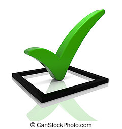 Green Tick Symbol - Check box with green check mark isolated...