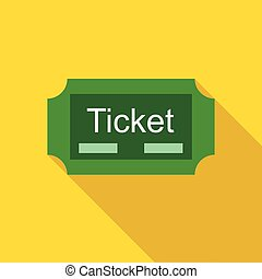Green ticket icon in flat style