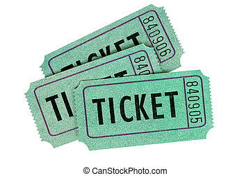 Green tickets - Three green raffle tickets isolated on a ...