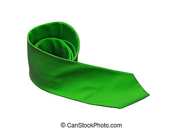 green tie isolated on a white background