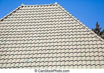 Green Tile Roof Under Blue Sky