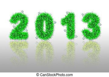 green tinsel forming 2013 year number