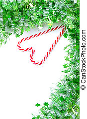 Green tinsel with candy canes decoration