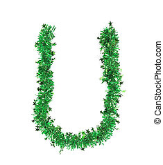 Green tinsel with stars in form of letter U. Isolated on a...