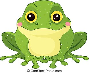 Green Toad - Illustration of cute green toad