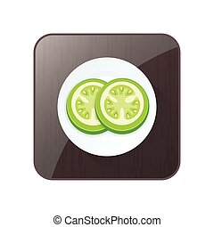 Green Tomato 3D Icon  and button