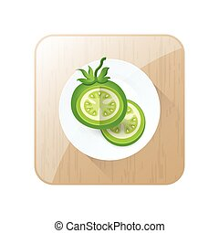 Green Tomato 3D Icon Vector and button