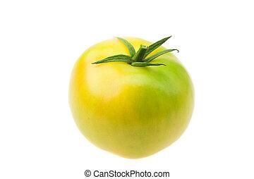 green tomato isolated on white