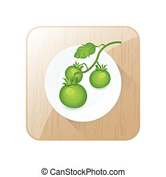 Green Tomato limb 3D Icon  and button