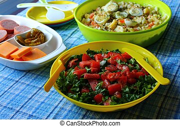 Green tomato salad with cold plates