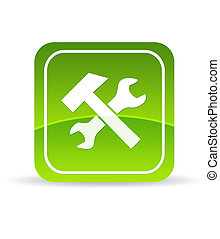High resolution green tools icon on white background.