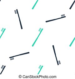 Green Toothbrush icon isolated seamless pattern on white background.  Vector