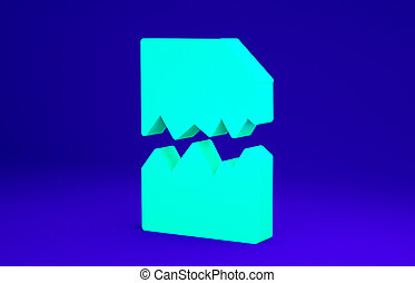 Green Torn document icon isolated on blue background. Minimalism concept. 3d illustration 3D render