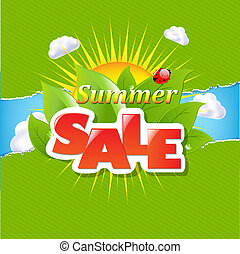 Green Torn Paper Borders And Summer Sale Banner With Gradient Mesh, Vector Illustration
