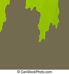Green Torn Paper on Plain Grey