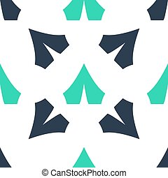 Green Tourist tent icon isolated seamless pattern on white background. Camping symbol.  Vector
