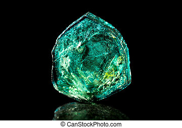 Green Tourmaline, black background, mineral, healing stone